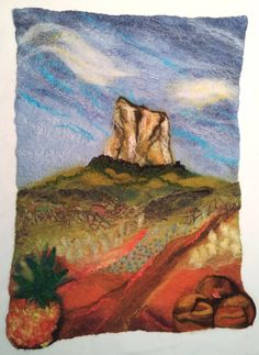 Wet felted wallhanging of Mt Coonowrin, Queensland, Austrlia.  Includes merino wool, silk chiffon scarf pieces, silk noile, silk tops, ribbon, needle felting and embroidery.