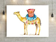 Camel Art  Camel with sadle  Dromedary Watercolor by Zendrawing