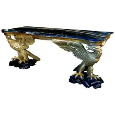 Monumental Carved & Gilded Mahogany Console Table with Marble Top - Regency Revival c.1880