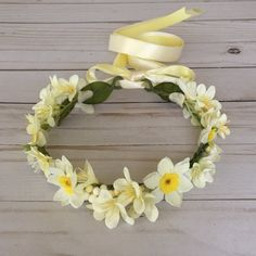 Pale Yellow Flower Girl Crown Yellow Flower Girl by FlowerHungry