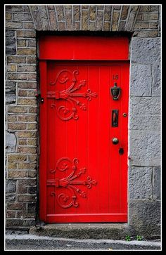 old red Dublin, Ireland . I have always had a weird thing for red doors! Loooooove it! I have always had a weird thing for red doors! Loooooove it! Entrance Doors, Doorway, Garage Doors, Front Doors, Stairs Window, Entryway Stairs, House Entrance, Cool Doors, Unique Doors