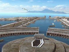 Harbors of Carthage, with Cape Bon visible in the distance. The ruins of the Punic town Kerkouane are located on the Cape Bon peninsula. The cape, with its looming, double-peaked Bou Kornine Mountain, a name that comes down through the ages, corrupted from Ba'al Karnine, the twin-horned god of ancient Carthage.