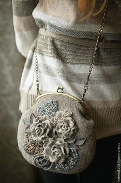 """Валяная сумочка """"Серые росы """". Handmade. #felting"""