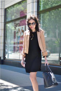 tan/camel blazer so versatile - over black dress, stripes, navy, orange, denim, white, etc. etc.