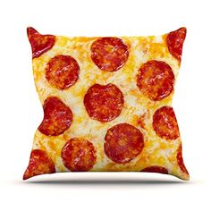 KESS InHouse KIH152AOP03 18 x 18-Inch 'Pizza My Heart Pepperoni Cheese' Outdoor Throw Cushion - Multi-Colour