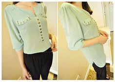 Stud Embellished V-Neck 3/4 Sleeve Chiffon Shirt For Women (GREEN,ONE SIZE) China Wholesale - Sammydress.com
