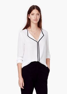 Contrast trim blouse - Shirts for Women | MANGO | $60