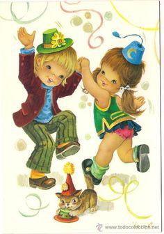 57190 postal dibujo niños bailando con gatito, - Comprar Dibujos y ...