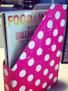 Use an old cereal box wrapped in colorful paper to store your magazines!