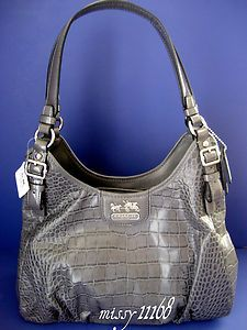 $498 COACH 18761 MADISON CROC EMBOSSED MAGGIE BAG GREY FreeShipping | eBay
