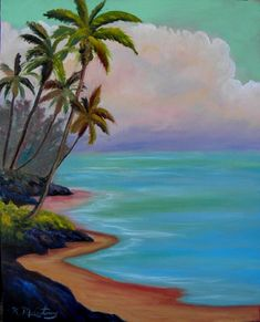 Beach Oil Painting by Kathy McCartney by TropicalExpression, $95.00