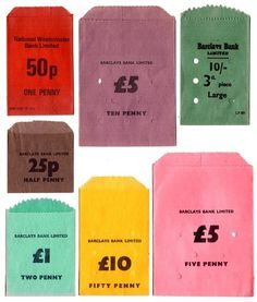 These vintage money bags are just lovely to look at - I adore the bright, bold colours and simple typography. Present have a selection for sale here.
