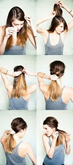 easy, relaxed ponytail (would probably move to side little more so show up in photos from front.
