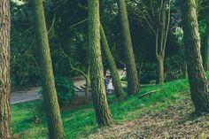 Bride & Groom portrait through pine trees. Peasholm Park, Scarborough, North Yorkshire.