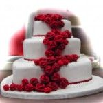 White Wedding Cake with Red Roses – Three Tier