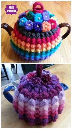 17 Crochet Knit Tea Cozy Free Patterns For 2020 Tea Cosy Knitting Pattern, Tea Cosy Pattern, Crochet Gifts, Diy Crochet, Crochet Geek, Crochet Ideas, Handmade Christmas Crafts, Crochet Fairy, Crochet Coffee Cozy