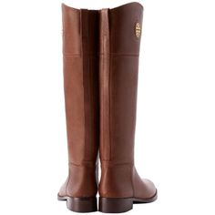 Pre-owned Tory Burch Junction Riding Brown Boots ($389) ❤ liked on Polyvore featuring shoes, boots, brown, cut out boots, knee high leather boots, brown equestrian boots, genuine leather riding boots and equestrian boots