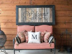 DIY Hand Painted Welcome Sign.make from salvaged wood - barn wood---