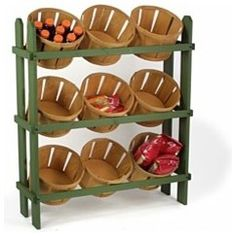 $107.25. Wood Display Baskets traditional food containers and storage. What do you do when you bring your farmer's market purchases home? Why not bring the market feel to your kitchen with this display? — Liren Baker