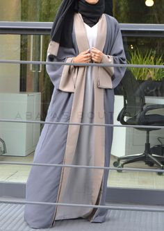 Light Grey & Mocha Twin Set Abaya