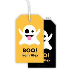Emoji Halloween Ghost Hanging Gift Tags @studioNotes