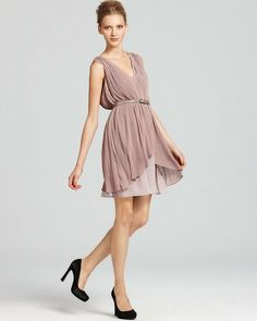 Mauve Belted Pleated Dress - Lyst cute and affordable!