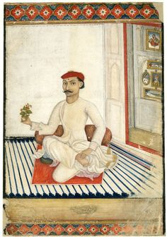 Portrait of a seated man with a bindi on his 3rd eye. ca. 1800. Company School. India