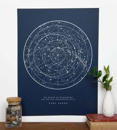 A map of the stars with a quote from Carl Sagan. A print of the constellations of the night sky, the perfect gift for science and astronomy enthusiasts Art Prints Quotes, Quote Art, Science Illustration, Star Chart, Illustrations, White Ink, Decoration, Giclee Print, Screen Printing