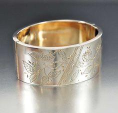 Victorian Sterling Silver Bracelet Wide Cuff Bracelet by boylerpf