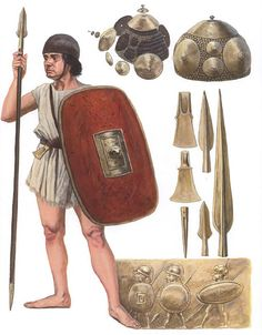 """Clan warrior"".  Because of archaeology, we can say with some confidence that these Roman warriors of fewer means, the military backbone of warbands, were without armour and almost certainly armed with a shield for protection and a spear for thrusting, with perhaps hand weapons such as dagger or axe for close-quarters battle. By  Seán Ó'Brógáin"
