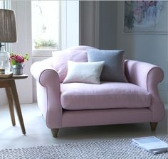 SLOUCHER LOVE SEAT. Ignore all those teachers who told you off for slouching. Kick back and sink into this deep and comfy sofa love seat. Seen here in pink Pale Rose vintage linen. One dreamy snuggle chair for the living room!