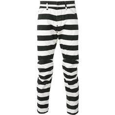 G-Star prison stripe pants ($106) ❤ liked on Polyvore featuring men's fashion, men's clothing, men's pants, men's casual pants, black and mens striped pants