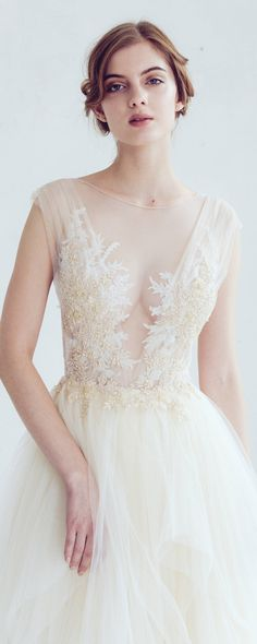Champagne and ivory tulle wedding dress // Dione/ Open back bridal gown, lace embroidered top, tulle dress, bohemian wedding dress