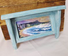 Small Display Shelf Aqua with Framed Hawaii by pinkpainter on Etsy