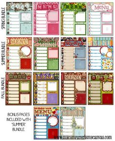 Printable Menu Planners... one for each month!