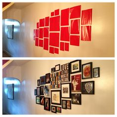 How to organize and layout a frame arrangement on your wall. Use wrapping paper or any paper you have! Cut them out in the sizes of your frames and tape them on your wall. You can even mark where the nail needs to go to easily hang.