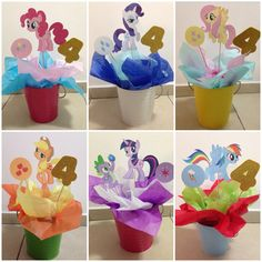 My Little Pony centerpieces, great for birthday parties! DIY! These were for my daughter's 4th bday party!