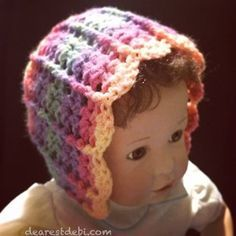 Looking for a quick and easy bonnet pattern? Hook up an Autumn Sky Bonnet in less than an hour! http://dearestdebi.com/autumn-sky-bonnet
