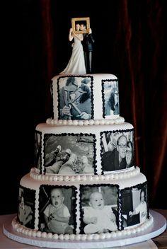 Bride and groom wanted photos on their cake. #weddings #weddingcake