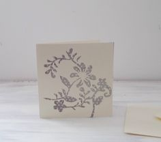 Hand Cutout Cream Floral Greetings Card With Grey /White Polka Dot Background by MissKatysVintageShop on Etsy