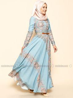 Ethnic Patterned Dress - Blue - Puane