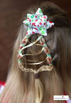 Christmas Tree Braid Tutorial. Cute and Easy Holiday Hairstyle for Girls! LivingLocurto.com