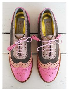 ABO pink & brown brogues #abo #shoes #brogues #oxfords #pastels