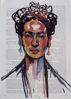 "Saatchi Art Artist Emma Tingård; Printmaking, ""Frida Kahlo Art Print on Newspaper. Edition 50. Limited Edition."" #art"