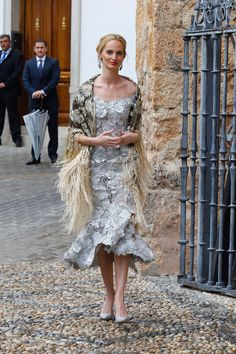 WHO: Lauren Santo Domingo WHAT: Dolce & Gabbana Alta Moda dress, vintage stole WHERE: Alejandro Santo Domingo and Lady Charlotte Wellseley wedding, Illora, Spain WHEN: May 28, 2016