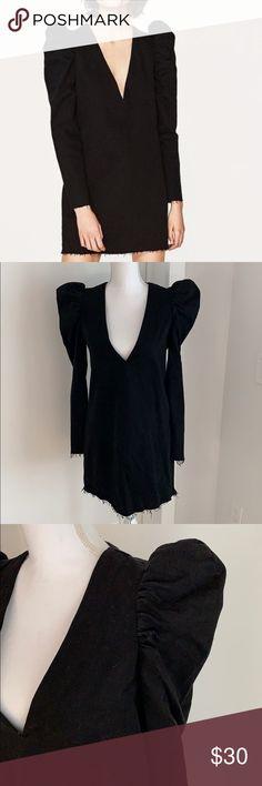 95bf7c34 Zara Black Puff Sleeve Denim Dress Black Zara Puff Sleeve Denim Dress in  Black. Size