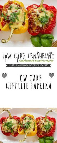 Low Carb Rezept für mit Hackfleisch und Gemüse gefüllte Paprika mit wenig Kohlenhydraten. Low Carb und einfach und schnell zum Nachkochen. Perfekt zum Abnehmen.