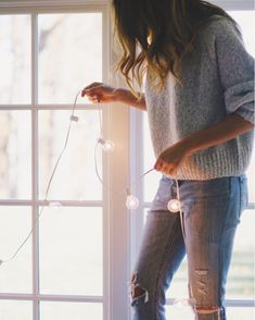 Prepping for Friendsgiving with @urbanoutfitters over on the blog today! Fairy lights & cozy sweaters forever & always  linked my favorite pieces from Urban via @liketoknow.it here: http://liketk.it/2pAhN #liketkit #UOonYou #ad #UOHoliday