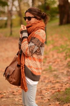 Cozy Fall Sweater And Long Orange Scarf