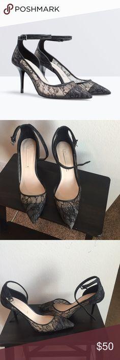Zara lace classic pumps like new Zara lace shoes like new, used only once. Size US 9 / EU 40. Zara Shoes Heels